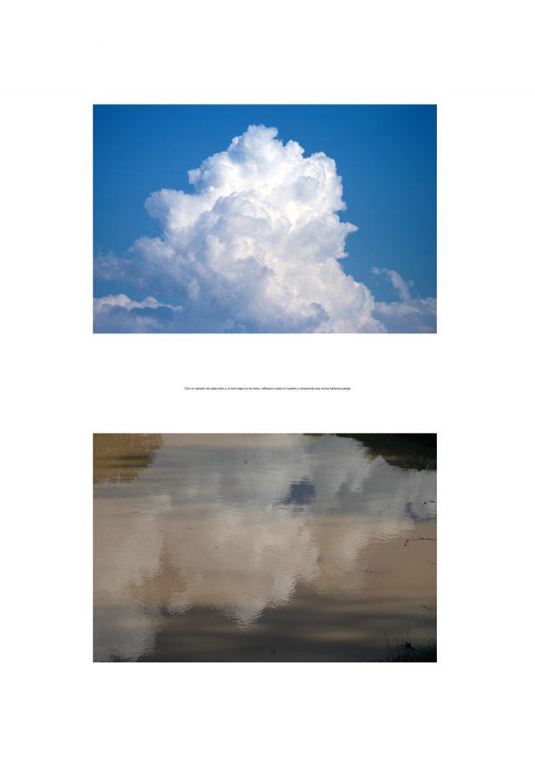 Fotografía de nube y su reflejo con texto sobre fondo blanco