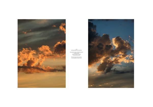 Fotografía de nubes con texto sobre fondo blanco